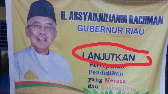 pada 26 September 2017 Bawaslu Riau juga menemukan indikasi kampanye terselubung melalui spanduk bermuatan politis