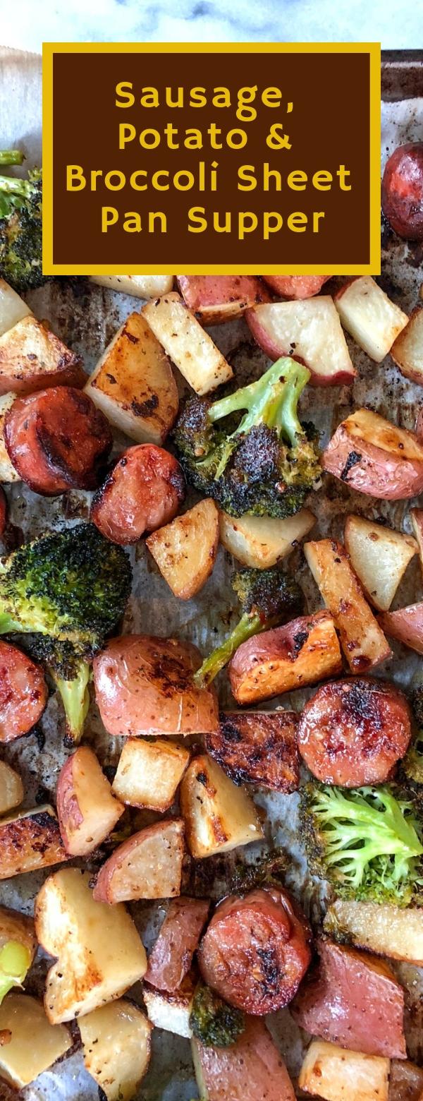 Sausage, Potato & Broccoli Sheet Pan Supper #SAUSAGE #POTATO #BROCCOLI #VEGETARIAN
