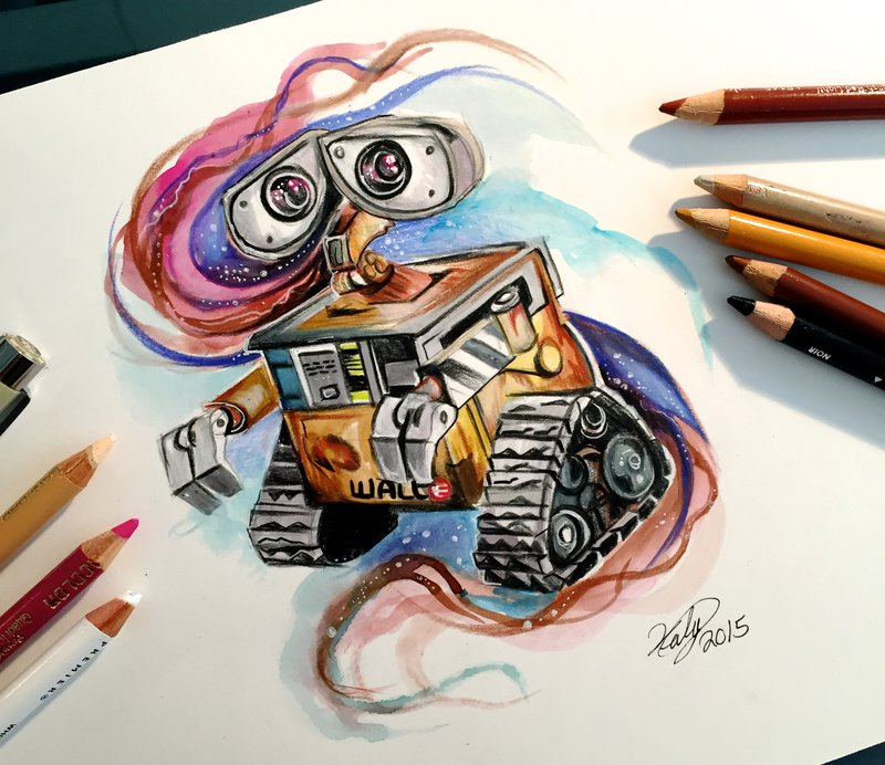 23-Wall-E-Katy-Lipscomb-Lucky978-Fantasy-Watercolor-Paintings-Colored-Pencils-Drawings-www-designstack-co