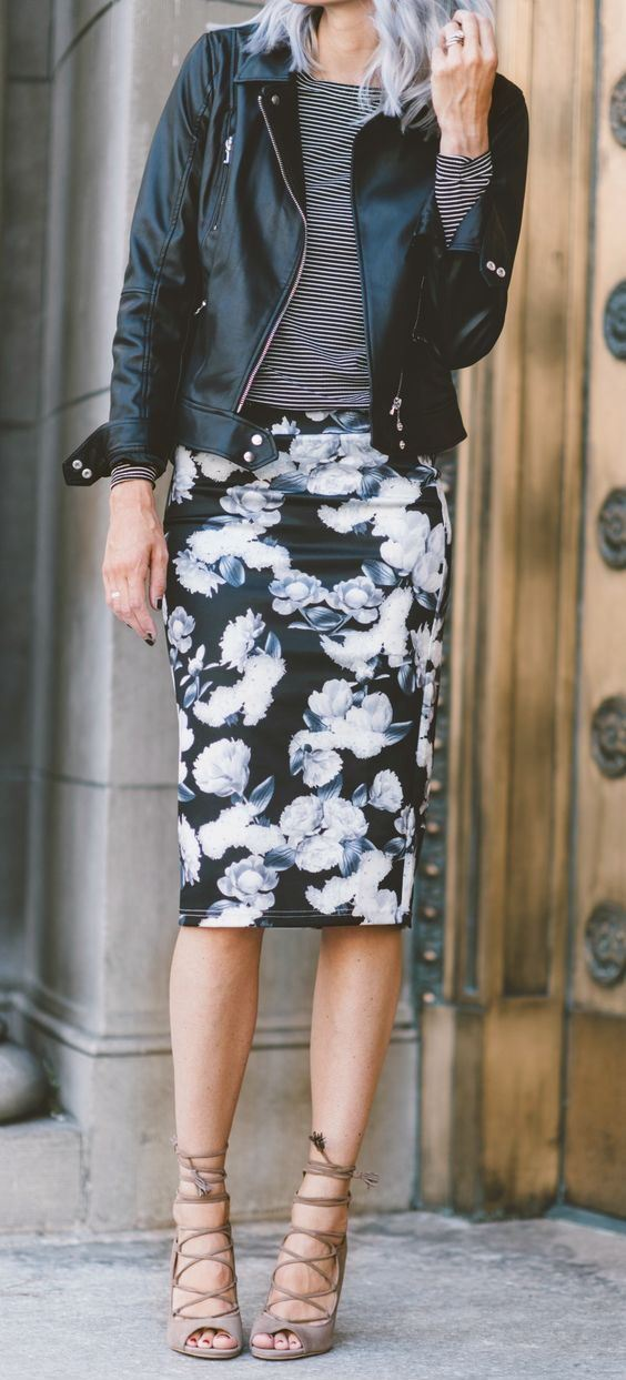 how to style a floral pencil skirt : stripped top + black moto jacket + bag  + heels