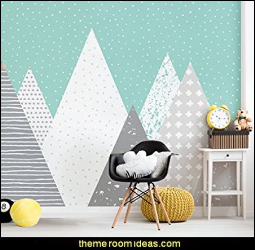 Kids Mountains Wallpaper Peel and Stick  Ski cabin decorating - ski lodge decor - winter cabin decorating ski resort bedroom ideas - winter wall murals - ski chalet theme bedroom decorating ideas - modern rustic style winter cabin decor - Swiss alps decoration Alpine theme decorating - adventure bedroom design ideas - ski alps wall decal stickers