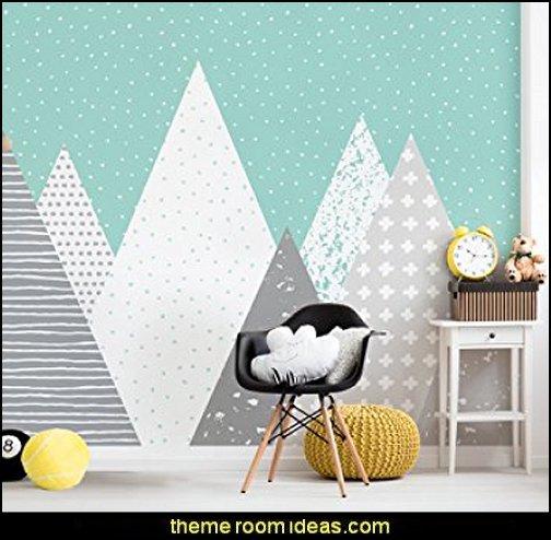 Kids Mountains Wallpaper Peel and Stick  arctic animals bedroom decor -  Arctic nursery decor - Arctic Animals wall decals  -  arctic nursery bedding - penguin nursery decor -  polar bear nursery - Nordic Wonder baby bedrooms