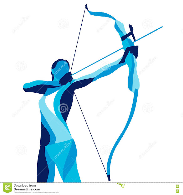Trendy Stylized Illustration Movement Archer Sports Archery Line Vector  Silhouette Of Royalty Free