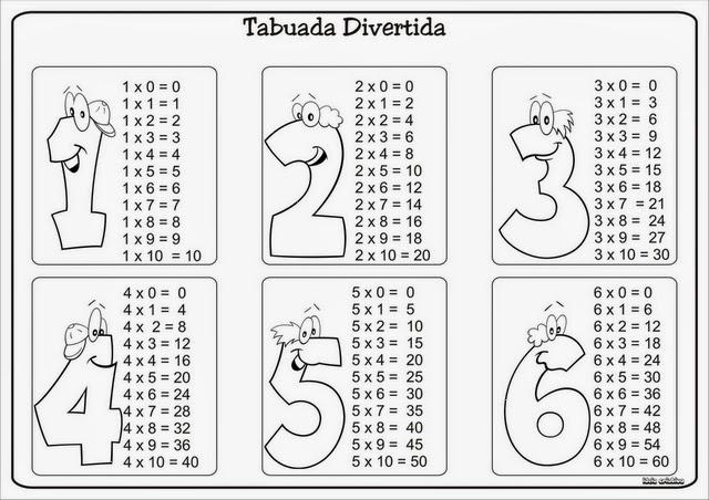 Tabuada De Multiplicacao Para Imprimir Desenhos Para Colorir