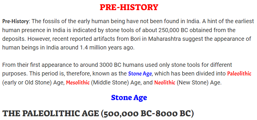 Pre History of India