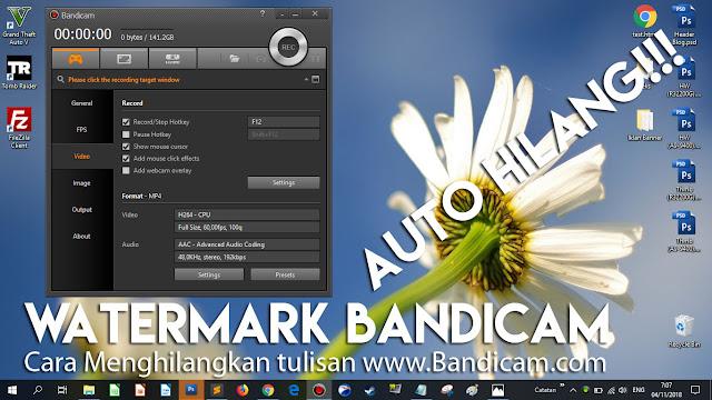 """Bandicam yang awalnya muncul tulisan """"www.bandicam.com"""", sekarang sudah hilang (full version)"""