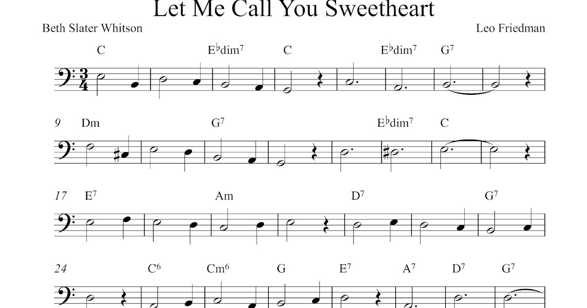 Free cello sheet music, Let Me Call You Sweetheart