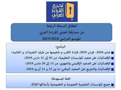 انطلاق النسخة الرابعة من مسابقة تحدي القراءة العربي