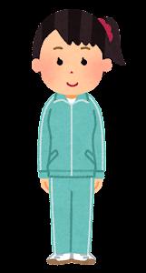 ジャージを着た女性のイラスト(水色)