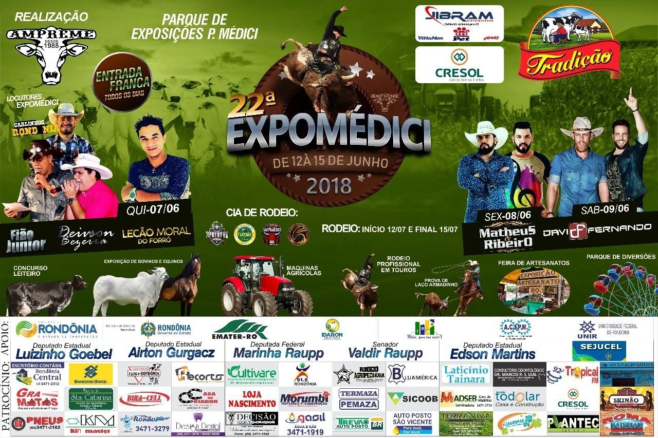 A 22ª edição da Expomédici 2018 acontece de 12 a 15 de julho no Parque de  Exposições Telma Cristina Bentes Rios de Presidente Médici. d326da6be80