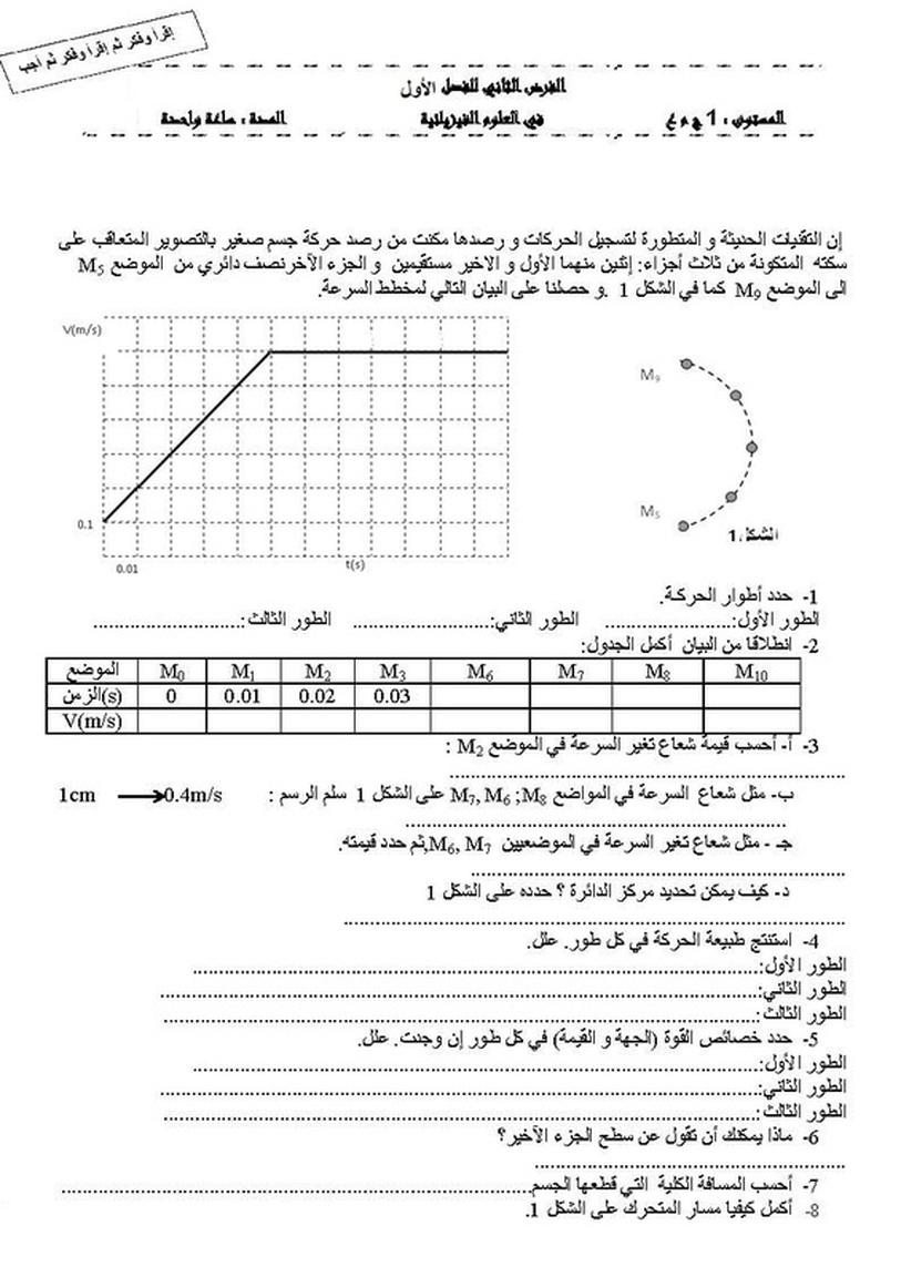 الفرض الثاني للثلاثي الأول في العلوم الفيزيائية
