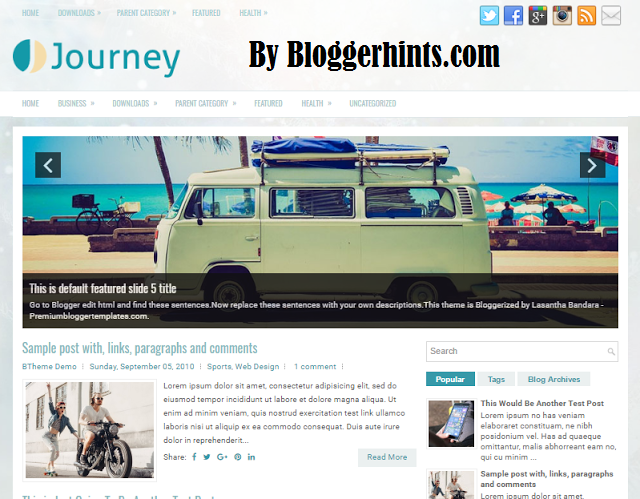 Journey Blogger Blog Free Template