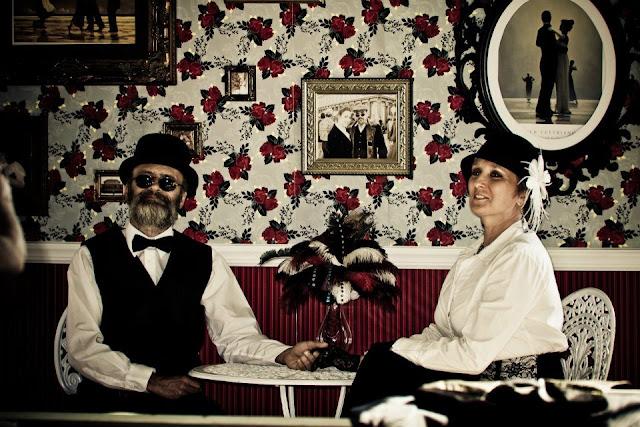 steampunk wedding, steampunk bride and groom, louise black corset, galveston, wedding, garten verein, steampunk photobooth, steampunk wedding reception