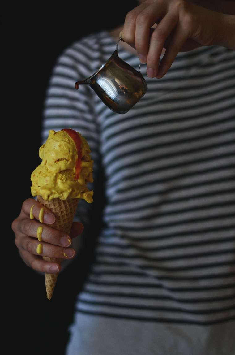 turmeric ice cream and tomato syrup
