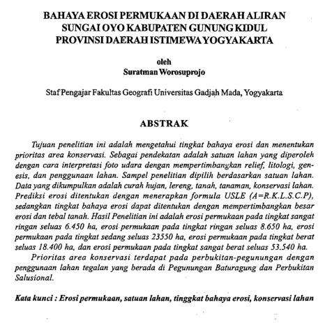Bahaya Erosi Permukaan Di Daerah Sungai Oyo Kabupaten Gunung Kidul [Paper]