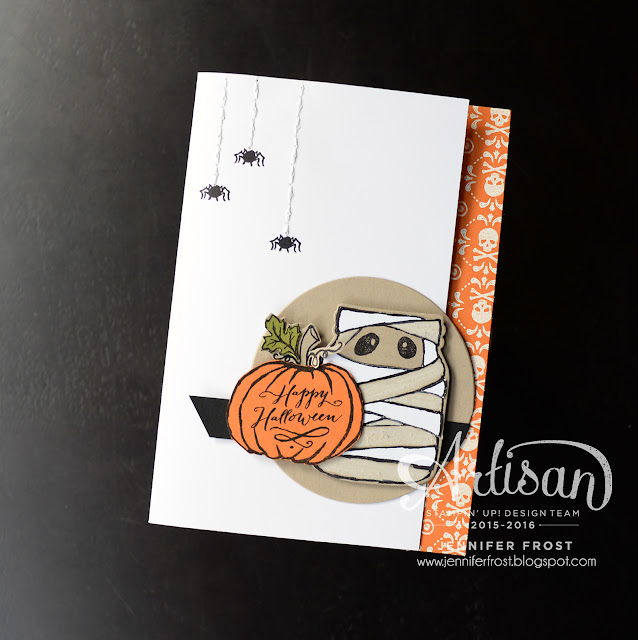 #TGIFc76, Color Challenge, Halloween Card, Jar of Haunts, Witches Brew Designer Series Paper, Stampin' Up!, Papercraft by Jennifer Frost
