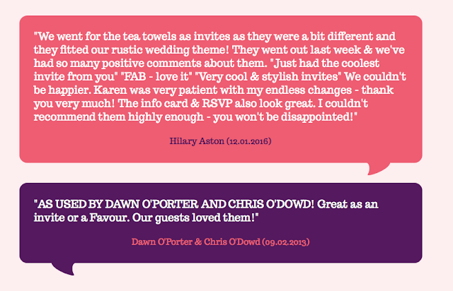 Wedding Tea Towel Customer Comments