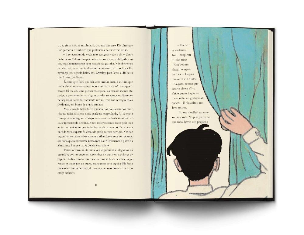 detalhe da edição mostrando uma ilustração de Jim e a diagramação do livro