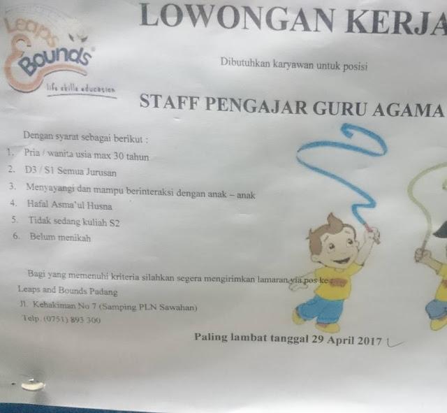 Lowongan Kerja Padang: Staff Pengajar Guru Agama April 2017