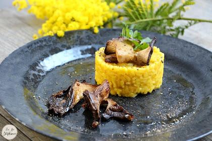Risotto à la courge et au safran, champignons rôtis