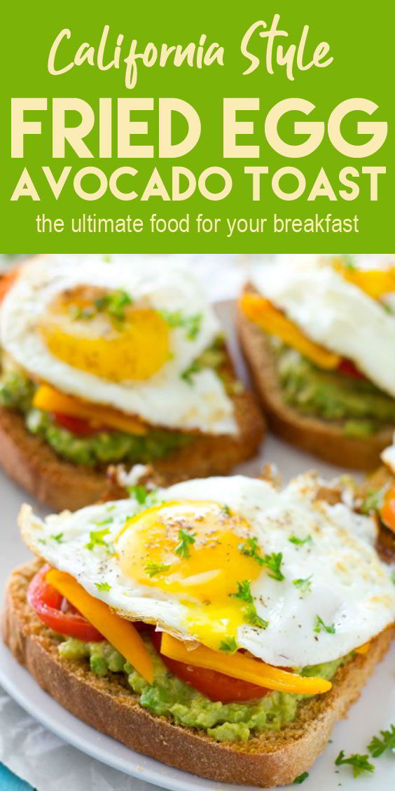 Fried Egg Avocado Toast – California Style #breakfast #vegetarian #healthyfoodrecipes