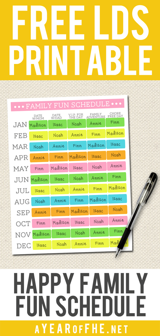 a year of fhe making family a priority free printable schedule