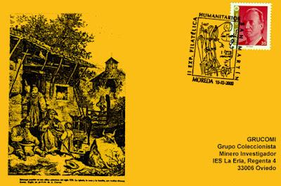 Tarjeta del matasellos de los Humanitarios de Moreda, homenaje a los instrumentos agrarios tradicionales