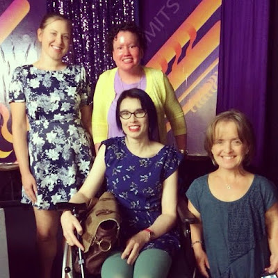 Australian disability bloggers on the set of No Limits - Carly Findlay, Leisa Prowd, Hayley Cafarella and Michelle Roger