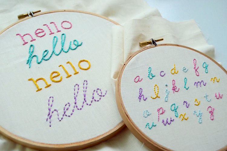 Hand embroidered letters by Kristen on Craftsy