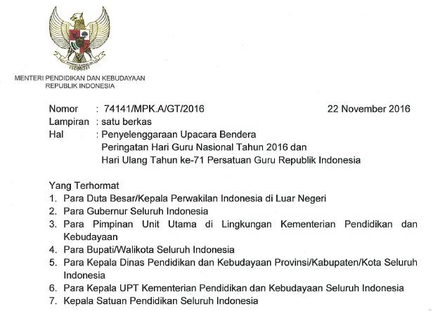 Surat Edaran Mendikbud tentang Peringatan Hari Guru Nasional Tahun 2016 dan HUT ke-71 PGRI