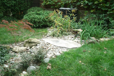 Dry stream bed rain garden hiding disconnected downspout by garden muses: a Toronto gardening blog
