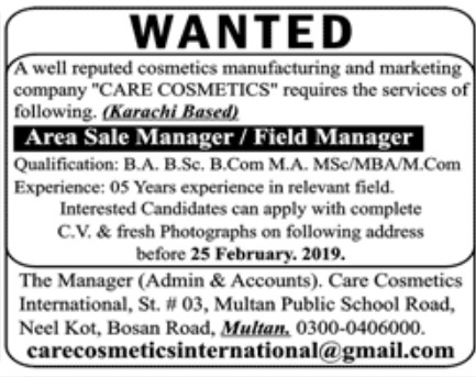 Cosmetics Manufacturing and Marketing Company Jobs