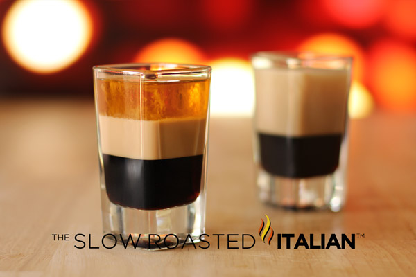 two B52 shot layered drink cocktail shooters