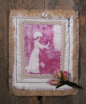 Rose Gardens Fabric Collage Art