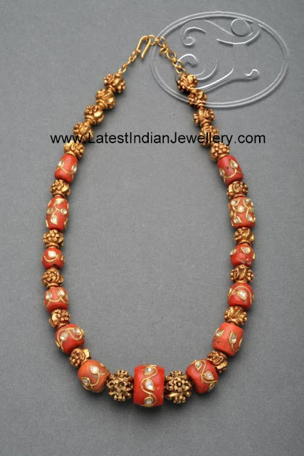 Stylish Coral Beads Necklace Intricate Gold Work On The