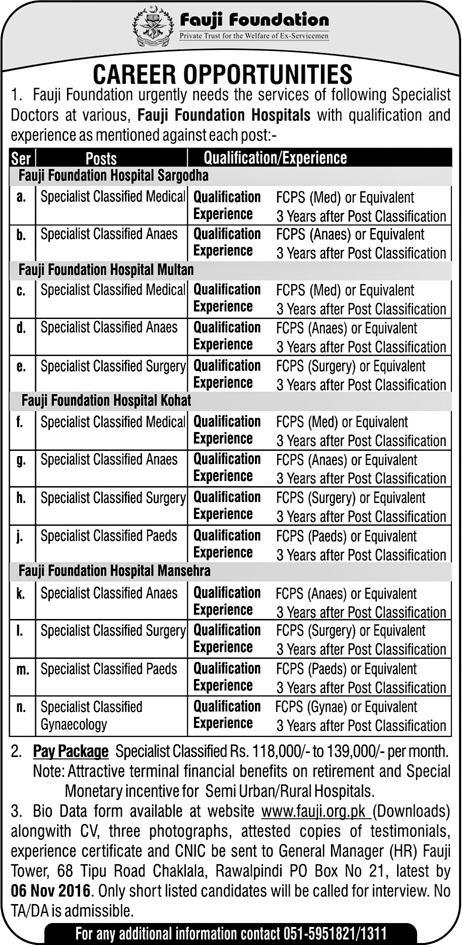 Doctors Jobs Vacancies in Fauji Foundation Hospitals