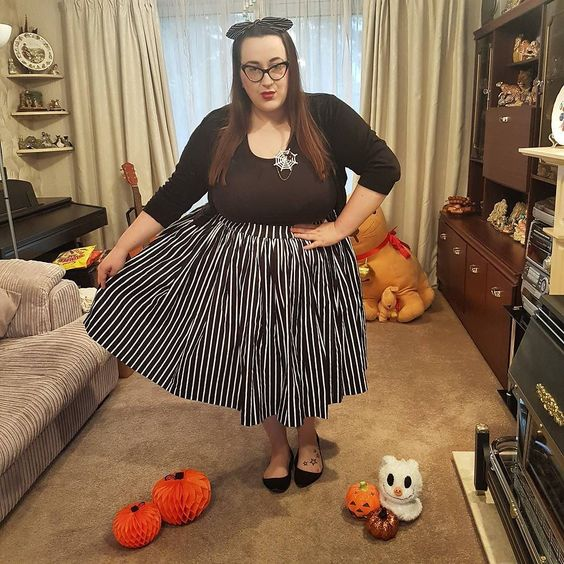 Pin Up Girl Victorian stripe jenny plus size skirt