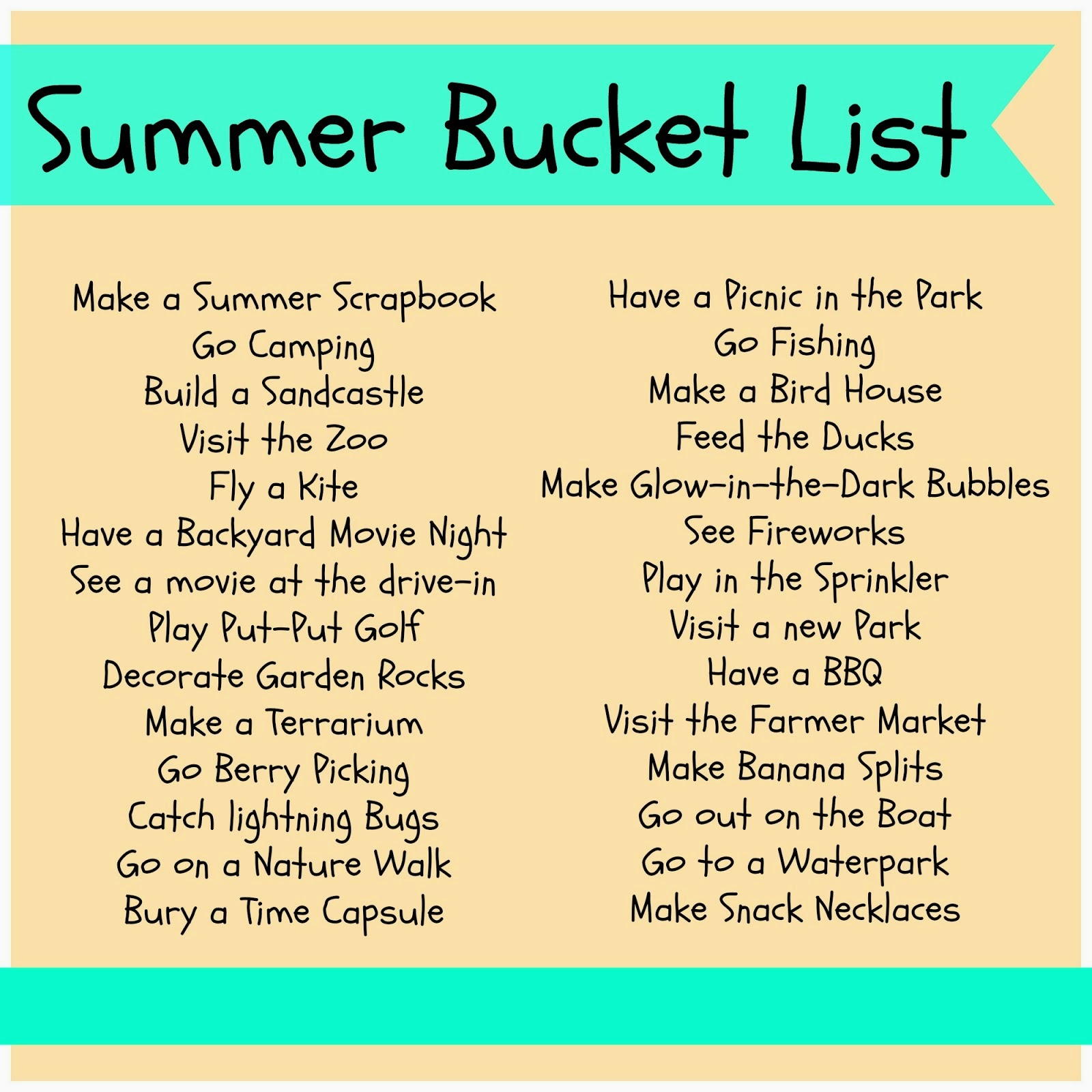 Rosana´s English Blog: 100 THINGS TO DO IN SUMMER