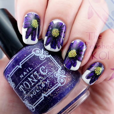 Tonic Polish Huckleberry Sparkle Nail Art Floral Stamping
