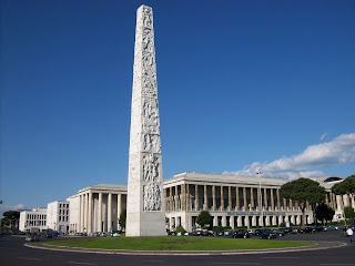 The Piazza Guglielmo Marconi, with its obelisk, is typical of the bold architecture of the EUR district