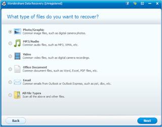 pilih jenis file yang ingin di restore