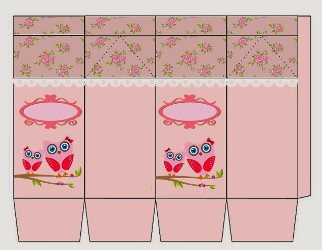 Owl with Roses Free Printable Milk Box.
