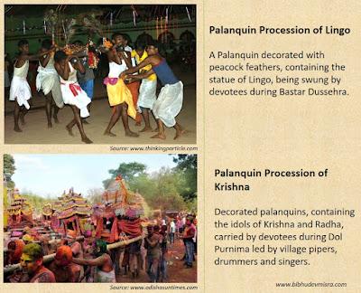 Palanquin Procession of Lingo in Bastar and of Krishna in Orissa