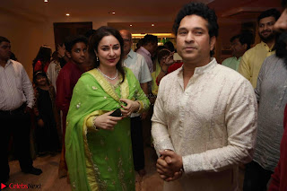 Sachin Tendulkar with his wife at Mata ka Jagrata hosted by Anu Malik 10.JPG