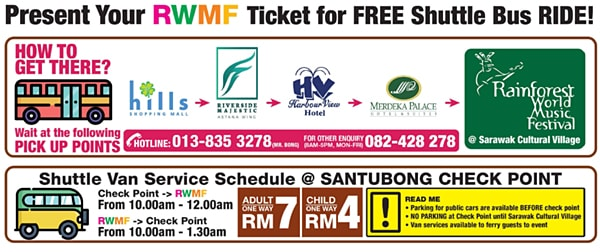 RWMF 2018 Free Shuttle Bus Time Table