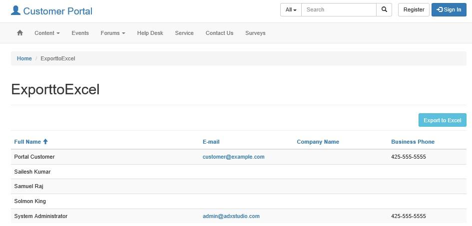 Dynamics CRM Portals: Adx: Entity List Export to Excel