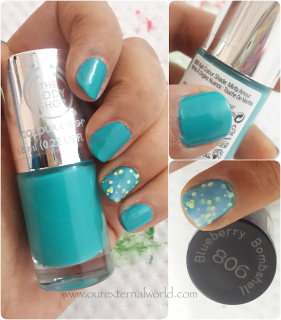 The Body Shop Colour Crush And Other Polish Swatches, Minty Amour, Blueberry Bombshell