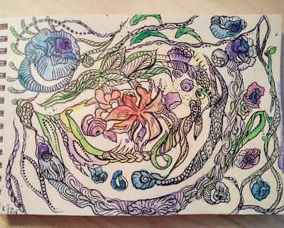 акварель цветы и дудлинг