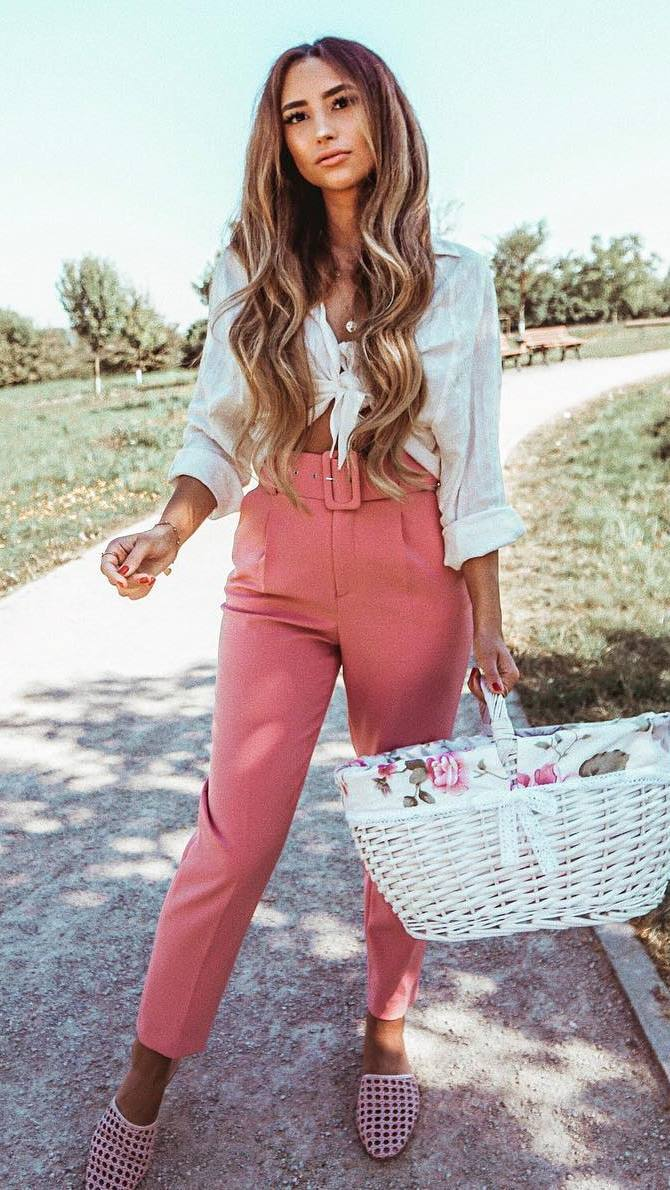 fashion trends / white shirt + straw hand bag + high waist pants + loafers