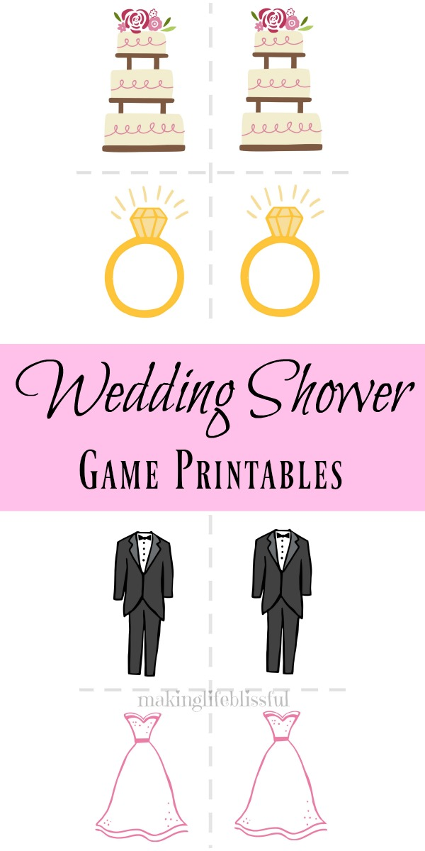click to access these bridal shower advice cards and large memory bridal game